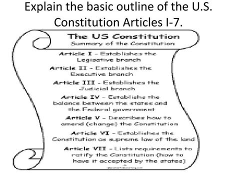 Outline Of The 7 Articles Of The Constitution by Ppt Unit 1 Civics Review Powerpoint Presentation Id 1997463