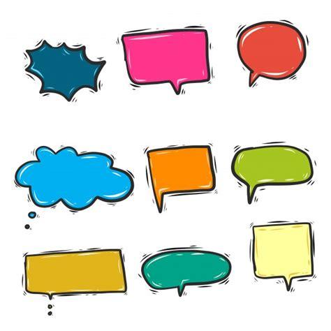doodle speech free vector colorful doodle speech bubbles vector free