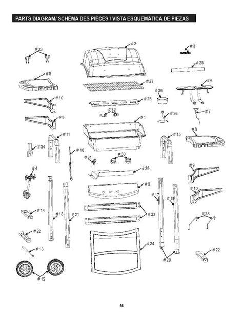 gas grill parts diagram charbroil parts