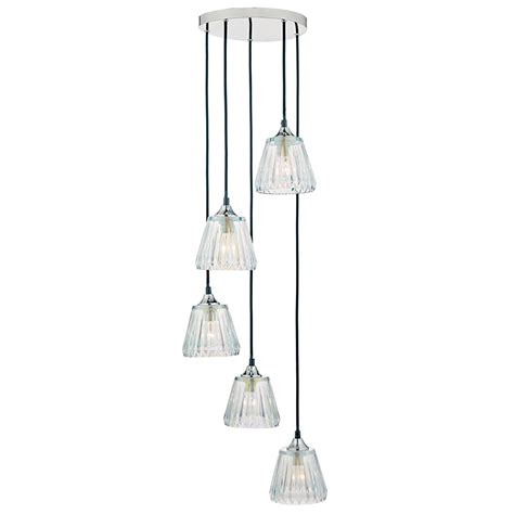 Cluster Ceiling Lights Dar Lighting Toledo 5 Light Cluster Ceiling Pendant In Polished Chrome Finish With Glass Shades