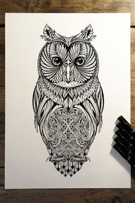 owl zentangle tattoo long eared owl commission for hoot watches on behance