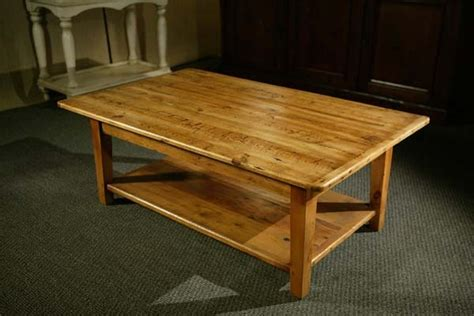 reclaimed pine wood coffee table with shelf and tapered