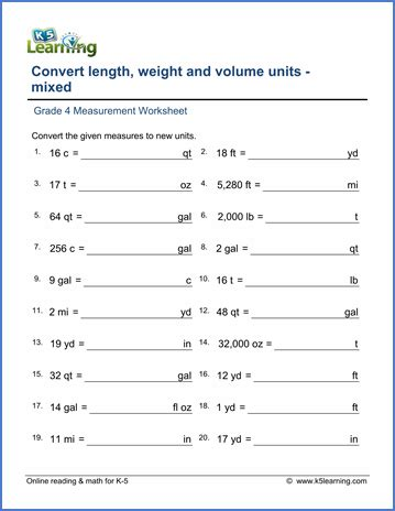 grade 4 math worksheets convert lengths weights and