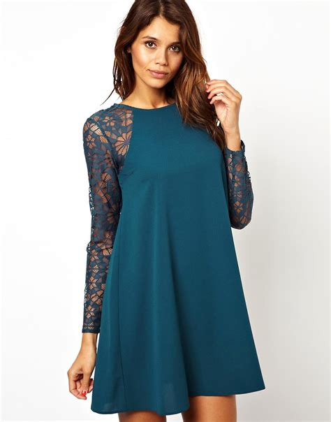 lace swing dress asos asos swing dress with lace sleeves at asos