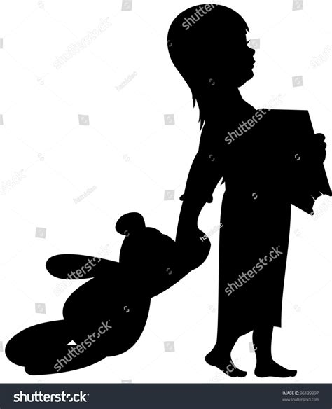 The Teddys And Toys Address Book silhouette with teddy and book ready for bed or