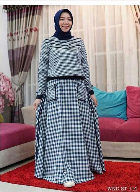 Gamis Sabila By Hilya Moslem busana muslim gamis setelan modern motif kotak hilya