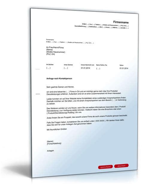 Musterbrief Anfrage Kredit Anfrage Geeignete Kontaktperson Vorlage Zum