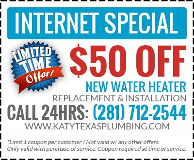 Plumbing Coupon Katy Texas   Discount Water Heater in Katy TX
