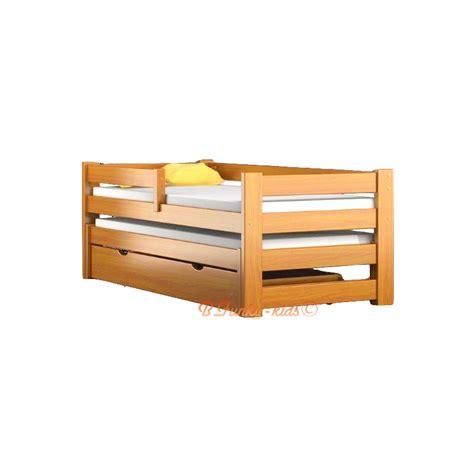 lit gigogne en bois massif avec tiroir et matelas pablo