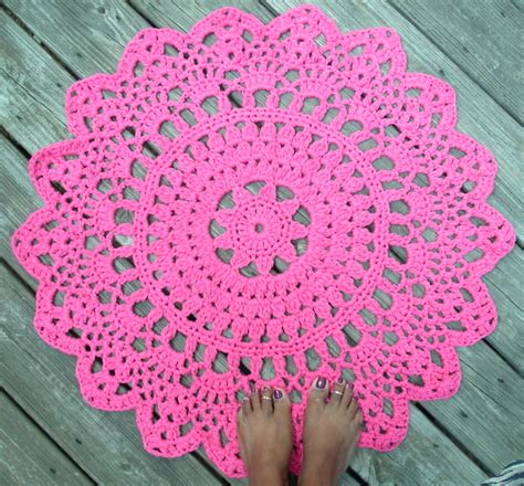 how to crochet a circle rug pink cotton crochet doily rug in 30 circle lacy
