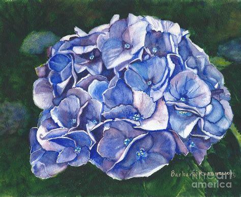 blue hydrangea painting by barbara rosenzweig