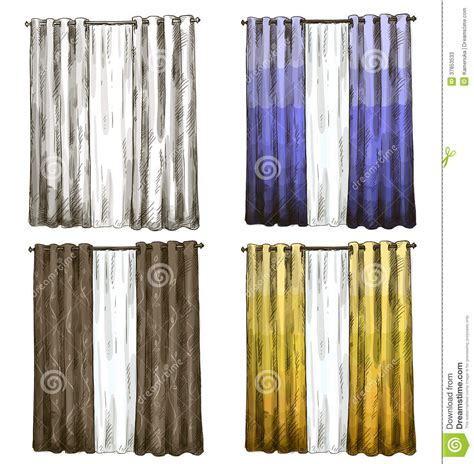 set of curtains set of curtains drawings sketch style stock photos image