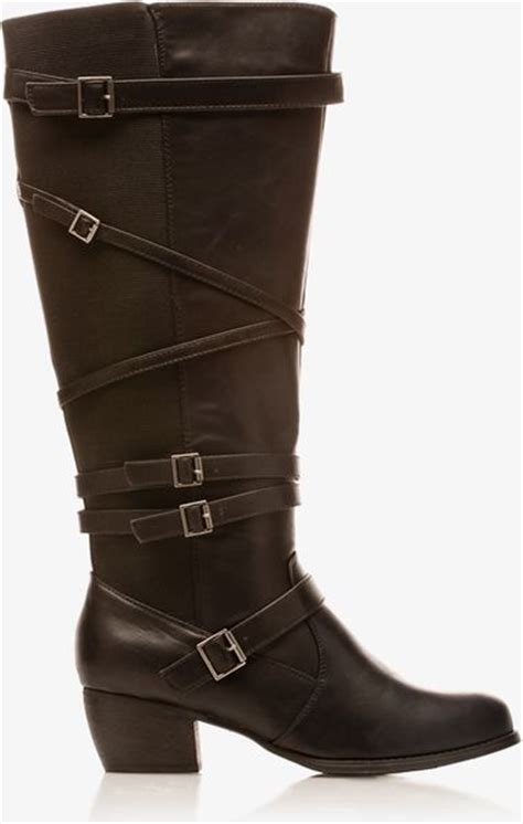 extended calf boots forever 21 extended calf faux leather boots in black lyst
