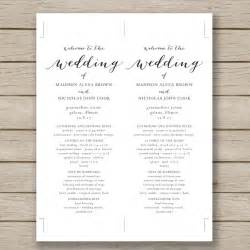 Free Printable Wedding Program Templates by Printable Wedding Programs Templates Solomei