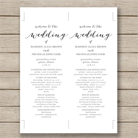 free printable wedding programs templates wedding program template 41 free word pdf psd