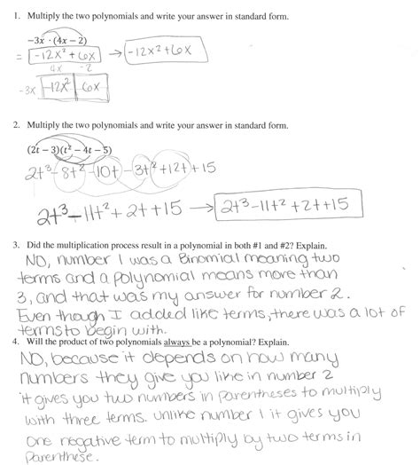Adding Subtracting And Multiplying Polynomials Worksheets With Answers by Multiplication Of Polynomials Worksheet Pdf Factoring