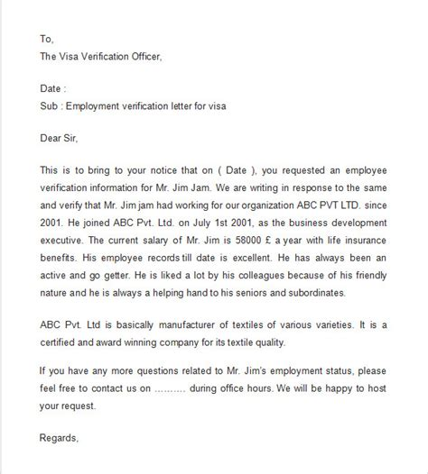 Employment Verification Letter Template Word Employment Verification Letter 7 Documents In Pdf Word Sle Templates