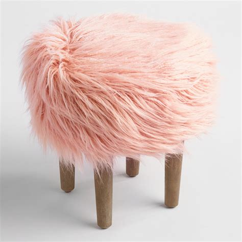 blush pink fur chair blush flokati stool world market