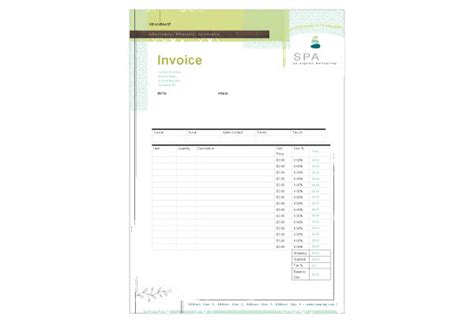salon service receipt template day spa print template pack from serif