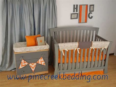 Orange And Grey Crib Bedding With A World Map Print Fabric Crib Bedding Orange