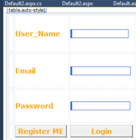 creating asp net login page creating registration and login page in asp net