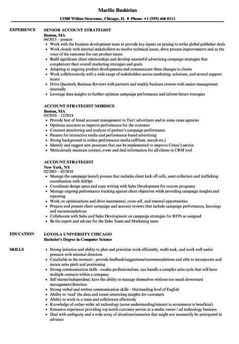 Account Strategist Sle Resume by Account Strategist Resume Sles Velvet