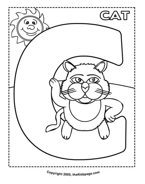 c is for cat free coloring pages for kids printable