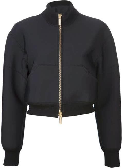 Jaket Bomber Crop Black emanuel ungaro crop bomber jacket in black lyst