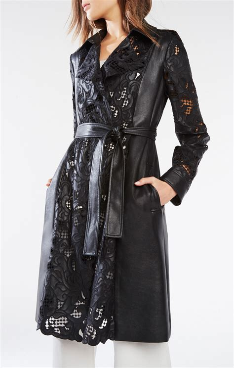 Embroidered Trench Coat embroidered faux leather trench coat