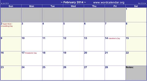 2014 Calendar With Holidays 4 Best Images Of February 2014 Monthly Calendar Printable