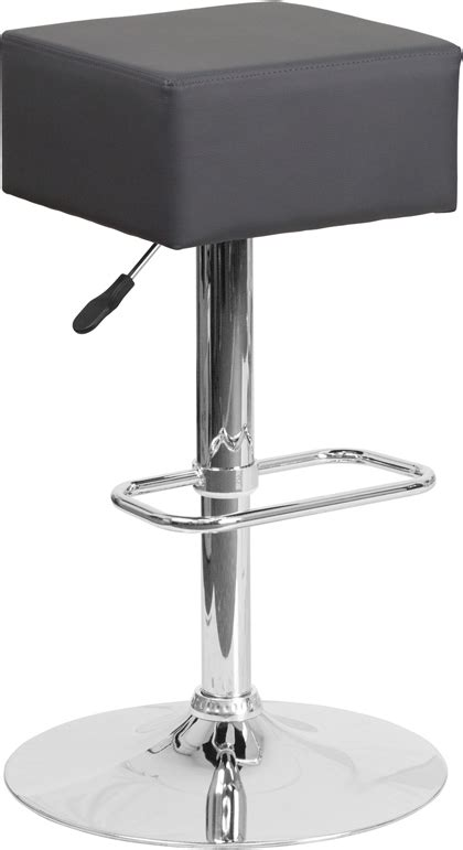 Highest Bar Stool Height by Backless Adjustable Height Vinyl Square Top