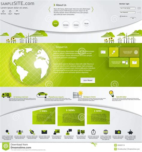 green eco website template with icons set stock images
