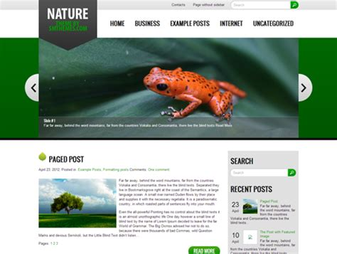 themes wordpress nature nature free wordpress theme
