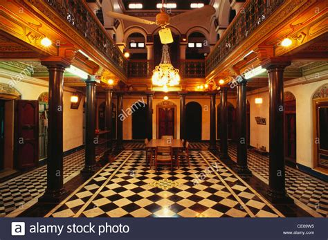 chettinad house interiors main hall nattukkottai chettiars home chettinad tamil nadu stock photo royalty