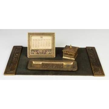 Unusual Gilded Bronze Tiffany Studios Desk Set Cottone Studios Desk Set
