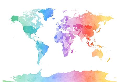 The World In Watercolor by Watercolor Map Of The World Map Digital By Michael