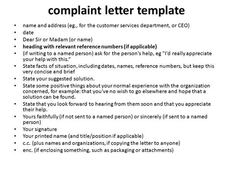 customer complaint letter template letter of complaint ppt