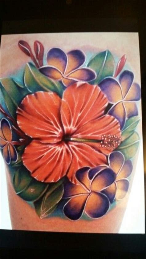 tropical flowers tattoo hibiscus colored tattoos