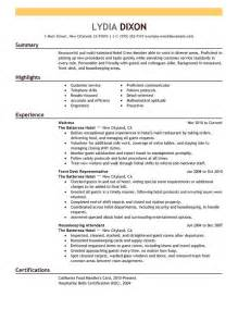 Resume Objective Exles In Hospitality Best Hospitality Resume Templates Sles Writing