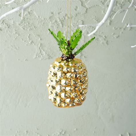 tropical glass ornament pineapple west elm