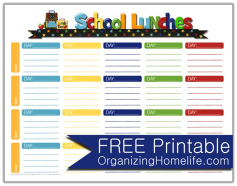 School Lunch Ideas A Free School Lunches Printable Planner Organizing Homelife Free Printable Lunch Menu Template