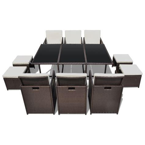 Rattan Table L Vidaxl Co Uk Vidaxl Brown Poly Rattan Dinning Set Table 6 Chairs 4 Stools