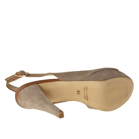 Sling Platinum small or large slingback platform sandal in sand and platinum suede ghigocalzature