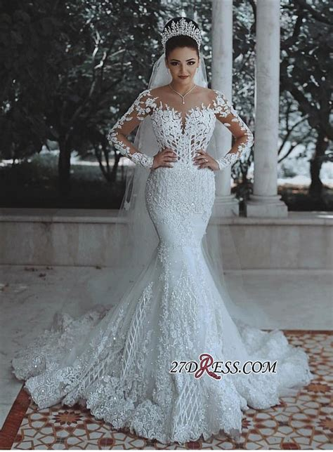glamorous long sleeve lace wedding dress  mermaid