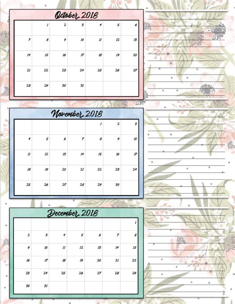 printable calendar first quarter 2016 free printable 2018 quarterly calendars 2 designs