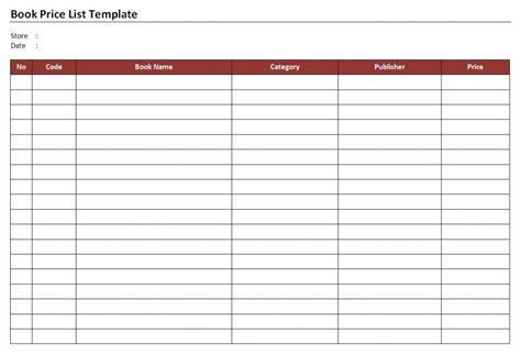 book list template book store price list template