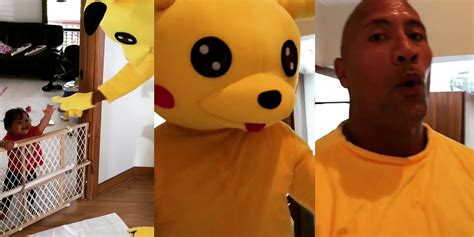 dwayne the rock johnson costume the rock wins major dad points for his incredible pikachu