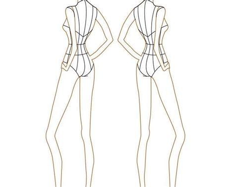 female template for fashion design front and back latest