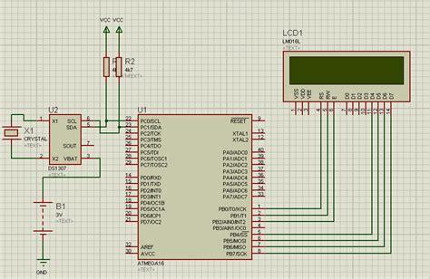 membuat jam digital lcd membuat simulasi jam digital dengan proteus jam digital