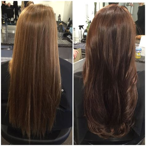 rich hair color before and after hair color rich chocolate brown hair